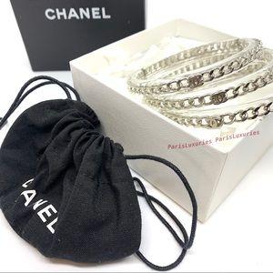 CHANEL Acrylic Clear Lucite Chain CC Triple Set
